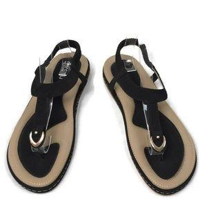 Siketu T-Strap Black Silver Charm Thong Sandals